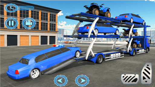 US Police limousine Car Quad Bike Transporter Game